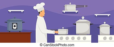 Chef at kitchen banner horizontal, flat style