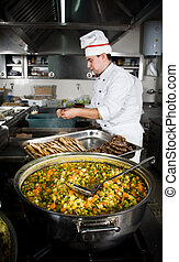Chef at work in a restaurant