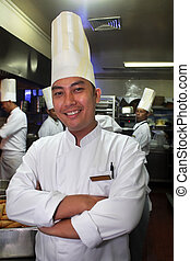 chef at work smiling