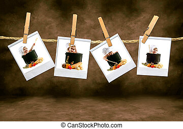 Adorable Chef Babies on Polaroid Film Hanging on a Rope