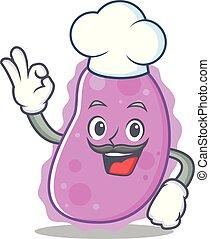 Chef bacteria character cartoon style