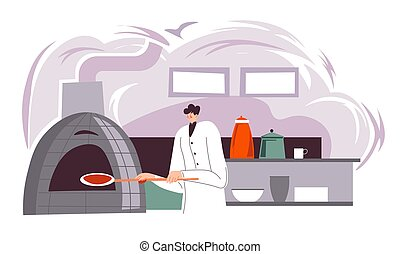 Male character baking traditional italian pizza in kitchen of restaurant, bistro or diner. Chef preparing meal for take out. Production of pasty food and delicious confectionery. Vector in flat style