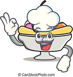 Chef banana split character cartoon vector illustration