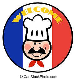 chef, bandera, bienvenida, francés, cara
