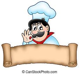 chef, bandiera, cartone animato