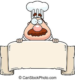 A cartoon chef with a paper banner.