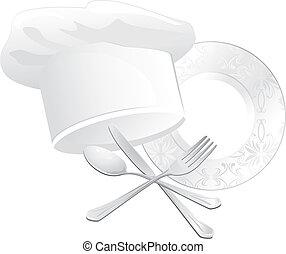 chef, batería de cocina, sombrero
