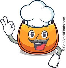 Chef beautifully hobo bag on character funny vector...