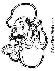 chef, bianco, nero, clipart, pizza