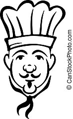 chef, bigote, corbata, toque