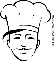 chef, bigote, toque
