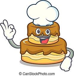 Chef birthday cake character cartoon