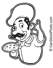 chef, blanco, negro, clipart, pizza