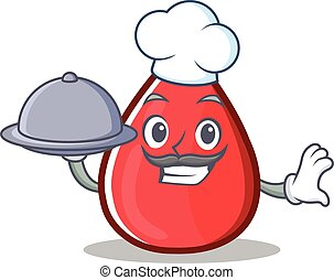 Chef Blood Drop Cartoon Mascot Character
