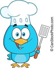 chef, blu, carattere, uccello, cartone animato