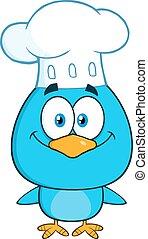chef, blu, carattere, uccello