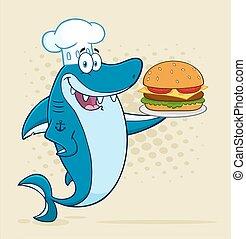 Chef Blue Shark Holding A Burger