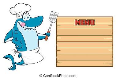 Chef Blue Shark Mascot Character