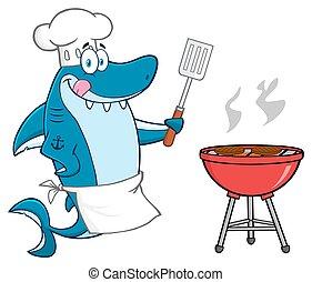 Chef Blue Shark With Barbeque - Chef Blue Shark Cartoon...