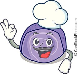 Chef blueberry roll cake character cartoon