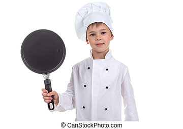 Chef boy holding frying pan isolated on white background