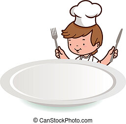 Chef boy looking over a blank plate. Vector illustration