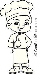 Chef Boy Thumb Up Pose BW