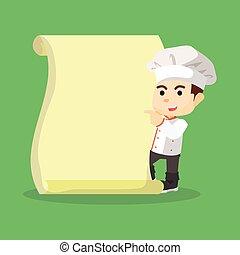 Chef boy with menu