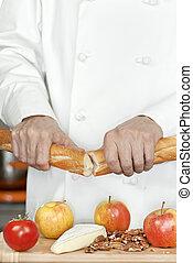 Chef Breaks Baguette