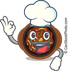 Chef bulgogi in a the bowl cartoon