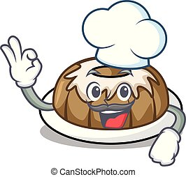Chef bundt cake character cartoon