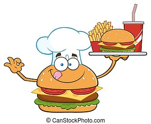 Chef Burger Holding A Platter