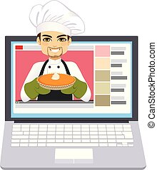 Chef Cake Video Blogger - Young professional chef holding...