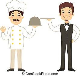 chef, cameriere, vassoio, presa a terra