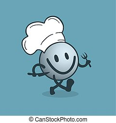 chef, camminare, felice