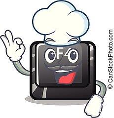 chef, carácter, botón, f4, aislado