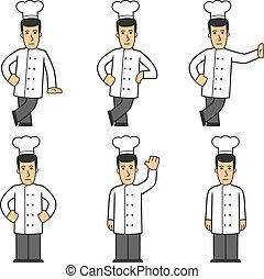 chef, carácter, conjunto, 01