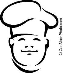 chef, cara sonriente, toque