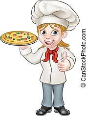 chef, carattere, cartone animato, femmina, pizza