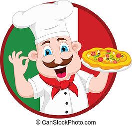 chef, carattere, cartone animato, pizza