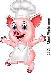 chef, caricatura, cerdo