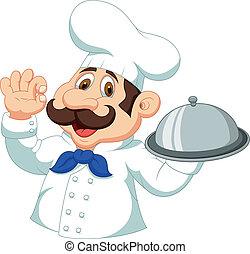chef, caricatura, con, signo bueno