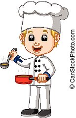 chef, caricatura, cucharón