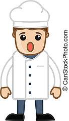 chef, caricatura, perplejo