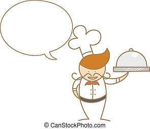 chef, carino, bolla, cartone animato, parlare