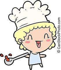 chef, carino, cartone animato, felice