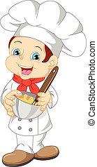 chef, carino, cartone animato, ragazzo