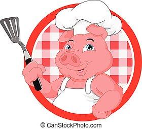 chef, carino, maiale, cartone animato, mascotte