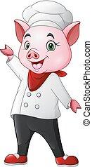 chef, carino, ondeggiare, cartone animato, maiale