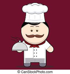 chef, carino, presa, cartone animato, illustrazione